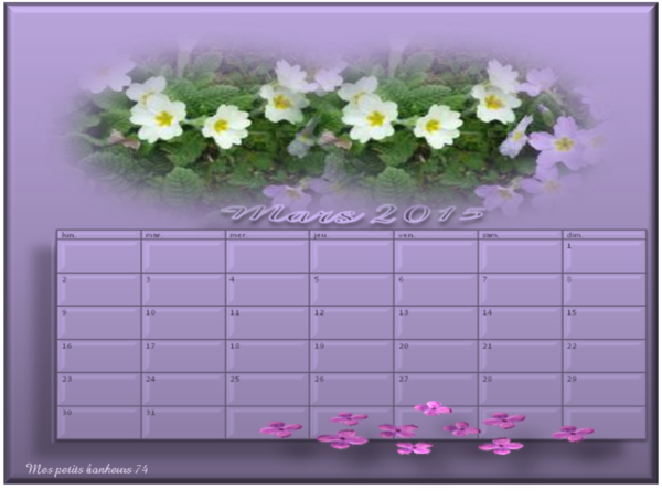 Mes calendriers 2015